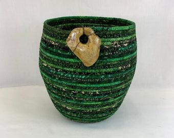 Large round green coiled fabric basket by Root River Baskets, coiled basket, rope basket, clothesline basket, yarn basket,home decor baseket