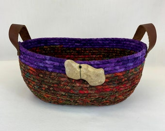 Medium oval Fall colored coiled fabric basket with handles, coiled basket, rope basket, mask basket, remote control basket, Fall basket