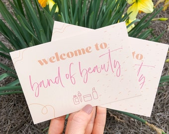 Welcome to Band of Beauty Postcard Pack | Postcards for Beautycounter Consultants