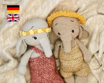 PDF Anleitungen Nico und Helma Elefant in Deutsch und Englisch, Sparpaket, 2 Häkelanleitungen enthalten, Amigurumi Häkelmuster, Kuscheltiere
