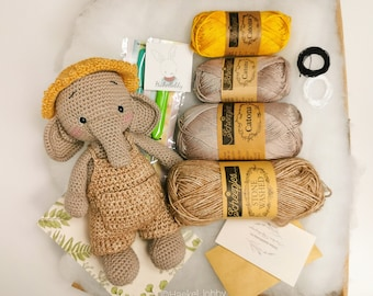 DIY Häkelset, Amigurumi Häkelkit, Nico Elefant von Haekellobby, Handarbeitsset Kuscheltier, Anfänger geeignet, Deutsch, Häkeltiere