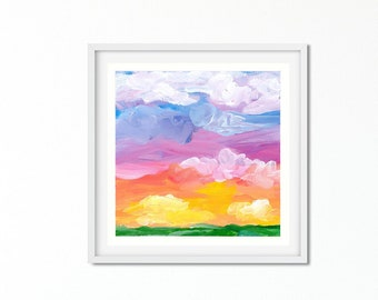 Sunset Abstract Painting - Rainbow Colors Art - Sky Painting - Bright Colors - Summer Sunset Painting - Coastal Style - Home Decor