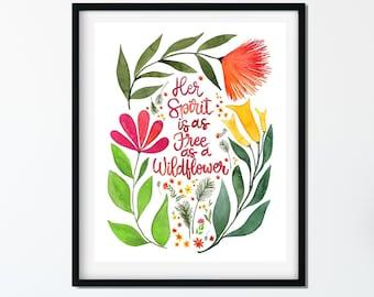 Wildflowers - Free Spirit - Wildflowers Art Print - Kitchen Art - Home Decor - Watercolor Painting