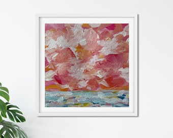 Sunset Abstract Acrylic Painting - Sunset Art - Ocean Art Canvas Painting - Coastal Style - Home Decor