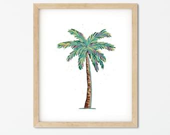 Palm Tree Painting - Bright Colors - Tropical - Coastal Style - Original Artwork - Home Decor