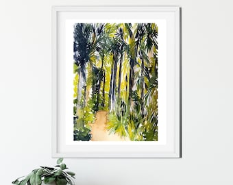 Hiking Painting - Nature Painting - Outdoors - Bright Colors - Original Artwork - Home Decor