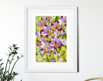 Pink Flowers Painting - Bright Colors - Original Artwork - Acrylic Painting - Home Decor