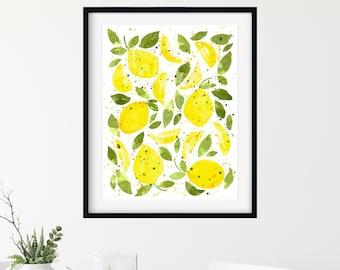Lemons - Lemon Art Print - Kitchen Art - Home Decor - Watercolor Painting - Summer - Bright Colors - Yellow
