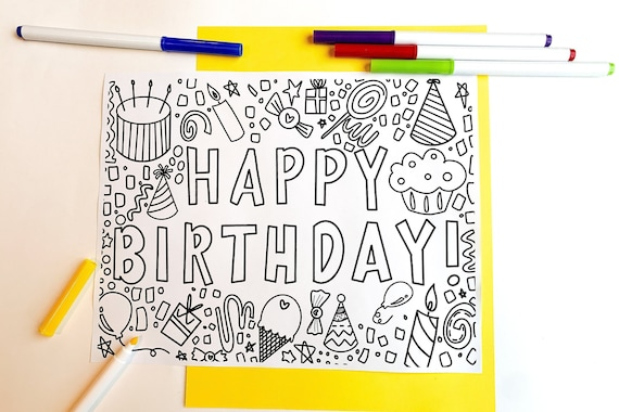 Hand Drawn Happy Birthday Coloring Page