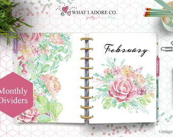 HAPPY PLANNER DIVIDERS Printable | Double Sided Vintage Floral Planner 12 month tabs | Planner Monthly Divider Printable | Monthly dashboard