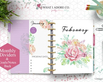 HAPPY PLANNER DIVIDERS with Notes Printable | Double Sided Vintage Floral Planner Dividers | Planner Monthly Dividers Printable