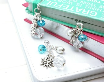 SNOWFLAKE PLANNER CHARM | Beaded planner bookmark | sparkly Beaded Paper clip | Journal Bookmark | Winter Planner jewelry