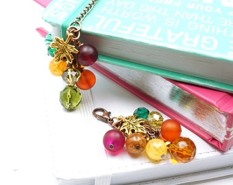 Autumn Planner Charm, Fall leaf Beaded Paper clip, Journal Charm, Planner accessories, sparkly planner clip, Autumn leaf planner clip