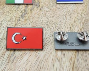 Made in Turkey Turkish Pewter Mustafa Kemal ATATURK Signature Lapel Pin with Crystal Accent