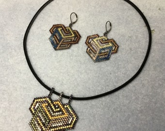 Peyote stitch PATTERN - Love Out of the Box Earrings and Pendant