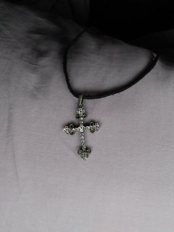 Black Beaded Bracelet with Celtic Cross Charm and Dangle Bead Handmade Religious Jewellery Boho Simple
