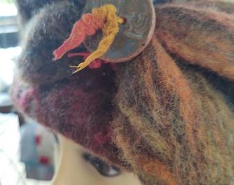 Hat Orange Brown Felted Wool