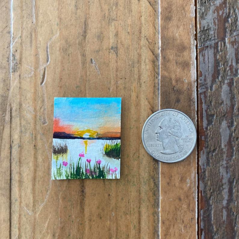 Flowers Miniature Watercolor Painting OOAK Waterside Sunset Original Art Original Tiny Portrait