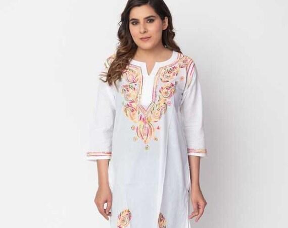 Handmade Lucknowi Ethnic Chikankari Embroidery Cotton Kurta Kurti For Women