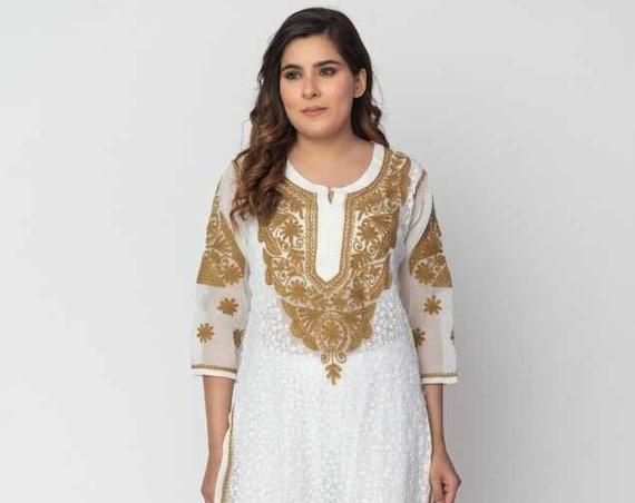 Handmade Lucknowi Ethnic Chikankari Embroidery Georgette Kurta Kurti For Women