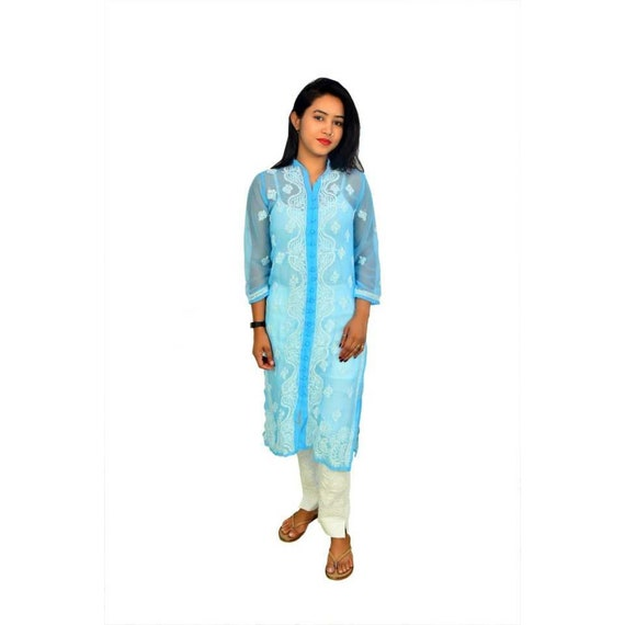 Handmade Lucknowi Sky Blue Chikankari Georgette Kurta Kurti For Women