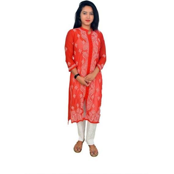 Handmade Lucknowi Red Chikankari Georgette Kurta Kurti For Women
