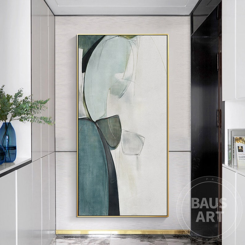 Abstract Print Green and Black Painting Framed Wall Abstract Art on Canvas Large Wall Art Pictures Ready to Hang Watercolor Print Fluid art