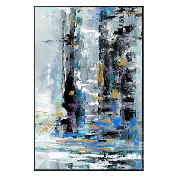 BF3AB608 Blue Yellow Grey White Modern Abstract Framed Wall Art  Picture Print
