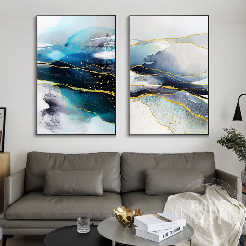 Abstract Ink Painting Print  Large Wall Art watercolor prints set Fluid art Pour Painting Print Framed Set of 2 Prints Modern Wall Dec