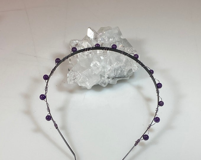 Featured listing image: Amethyst Beads Wrapped with Purple Wire on a Black Metal Headband