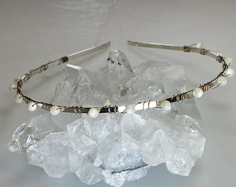 Quartz Crystal Beads Wrapped with Teal Wire on a Blue Satin Headband