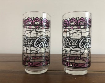 Qty 4 Coca Cola Stained Glass Red and White Enjoy Coca Cola Tumbler Glasses