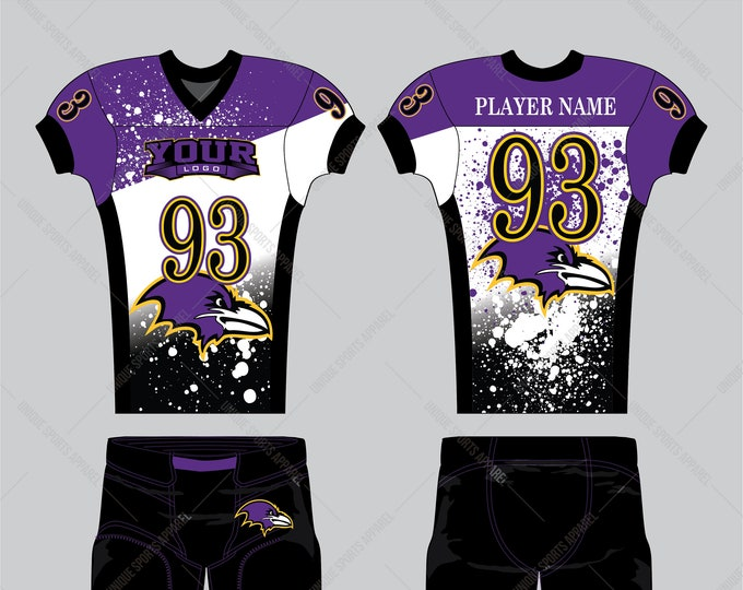 Purple black white color splatter effect beautiful looking American Football Uniform design