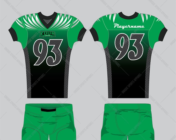 Edgy color combination of green and black with carbon filled pattern and wings wrap on the sleeves and yoke American Football Apparel design