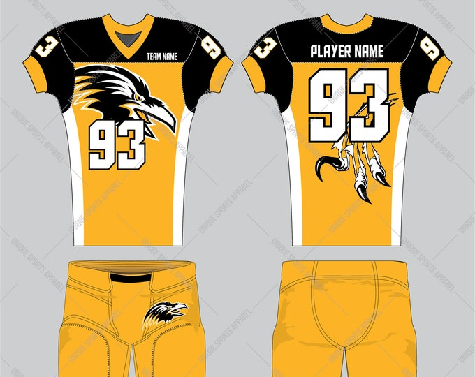 Gold black color combination with wild bird claws ripping marks on the back American Football Apparel design