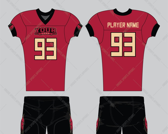 Cardinal color base American Football Jersey design with a touch of red indian pattern on sleeves and pant