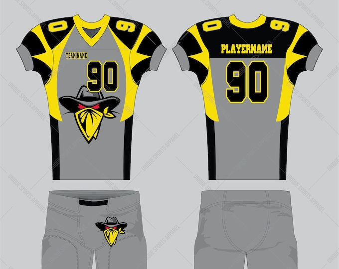 Black gray gold with bandit symbol American Football Jersey design