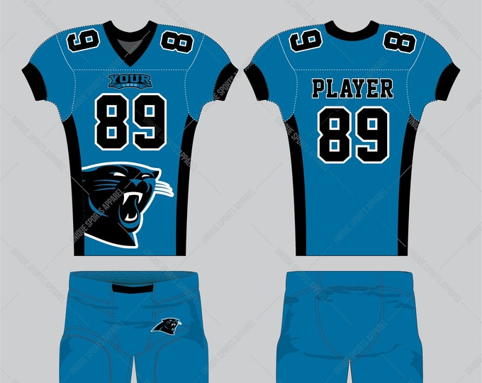 Blue black decent clean look of the American Football Apparel design with black side inserts