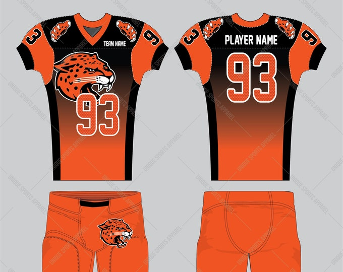 Fiber pattern filled numbers black and orange color combination American Football Jersey design
