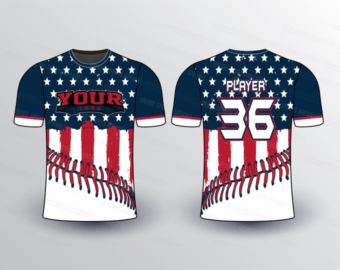 Flag Pattern with Stitches Sports Jersey Mockup