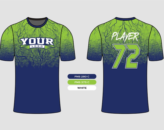 Blue Lime Green Elegant Design Sports Jersey Mockup