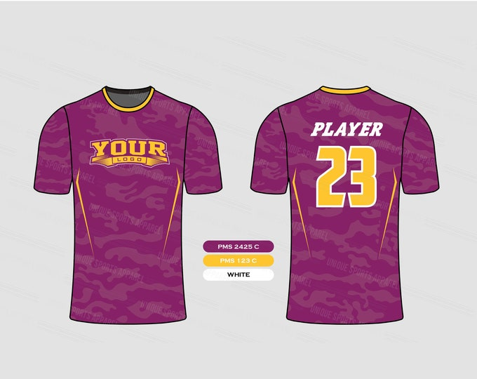 Purple Gold Stylish Sports Jersey Mockup