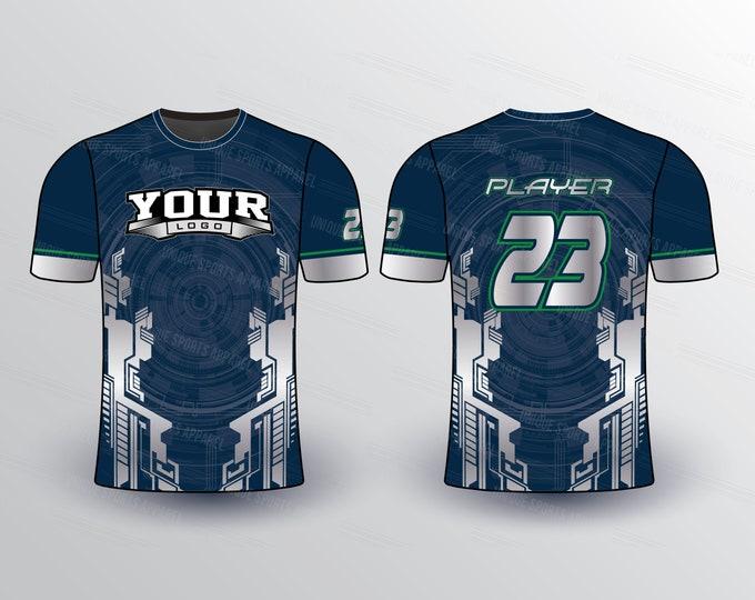 Modern Tech Pattern Sports Jersey Mockup