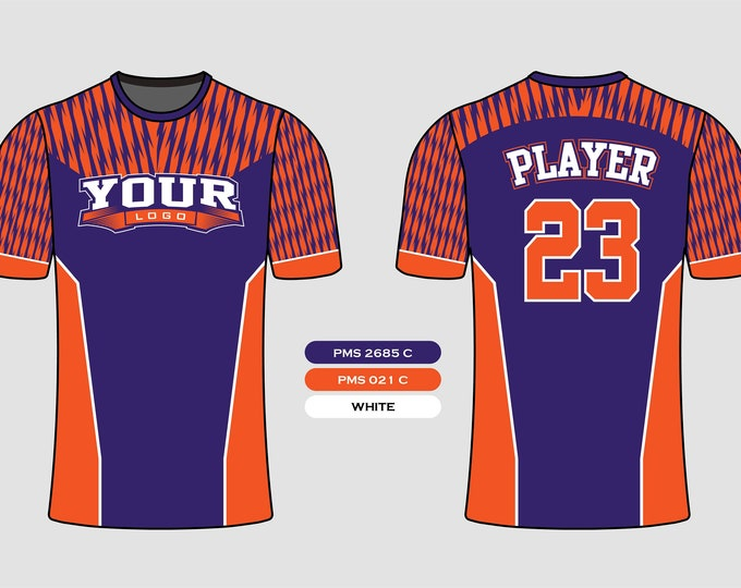 Elegant Thunder Bolt Pattern Sports Jersey Mockup