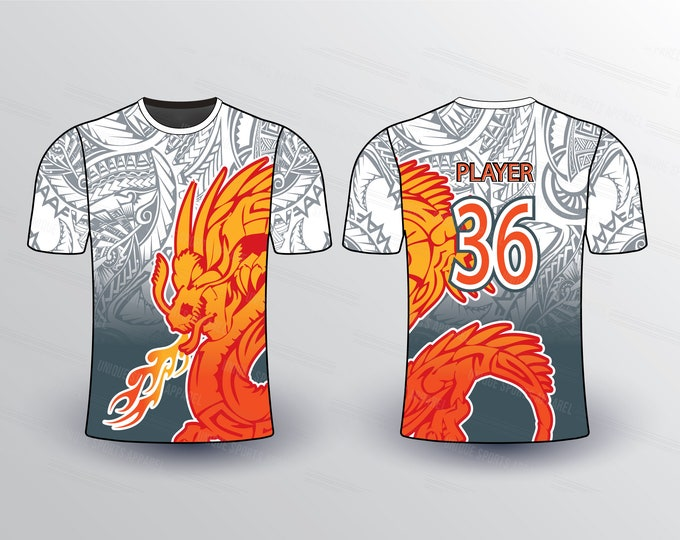 Dragon Pattern Sports Jersey Mockup