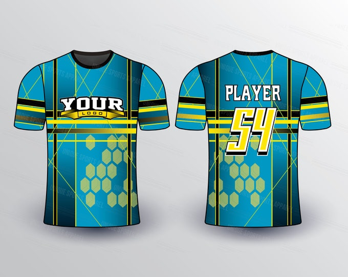 Gradient Background Hexagonal Pattern Sports Jersey Mockup