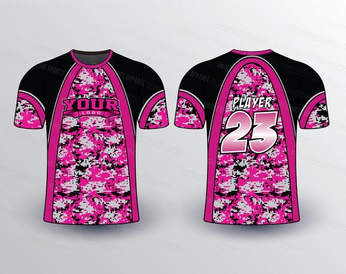 Hot Pink Camo Sports Jersey Mockup