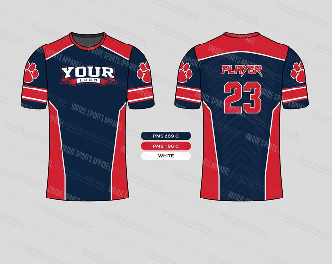 Blue Red Stylish Sports Jersey Mockup