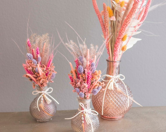 Be Happy, small or large, dried flower bouquet with vase, dried flower bouquet, durable decoration, dried flowers boho