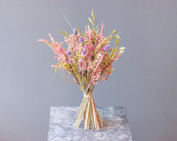 Flower Power, Dried Flowers, Dry Flower Bouquet, Bouquet, Bouquet, Dried Flowers, Flower Window, Purple, Apricot, Pink, Green